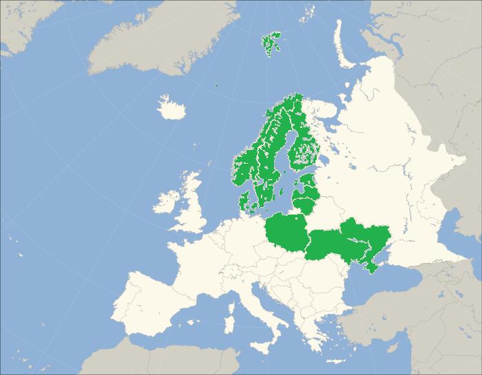 De 9 europeiske landene hvor SRD er salgsrepresentant for Exhibits.nl. Flagget er fra Wikipedia og publiseres under følgende lisens: CC BY-SA 3.0 license
