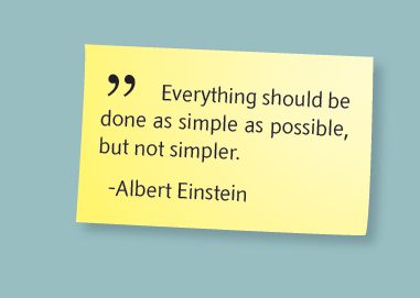 Albert Einstein-sitat fra SRD-brosjyren: Alt bør gjøres så enkelt som mulig, men heller ikke enklere.